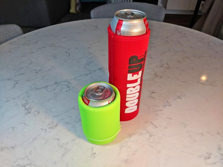 Double-Up Can Cooler - Double beer koozie - extra tall koozie holds 2 cans at a time