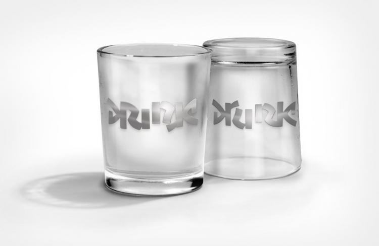 Drink / Drunk Ambigram Shot Glasses