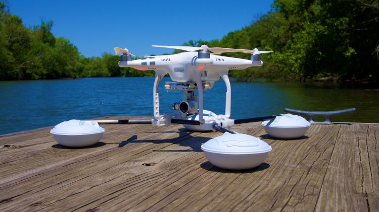 Drone Raft Waterstrider - DJI Phantom Attachment land on water and rough terrain