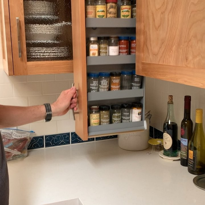 Dropdown Spice Rack Cabinet Drawer Lets You Easily Access All Your Spices