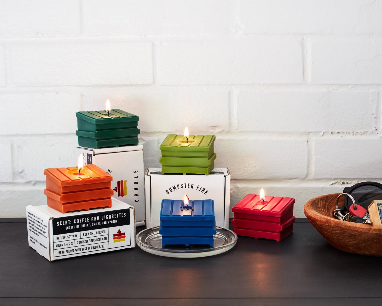 Dumpster Fire Candles - Dumpster shaped candles