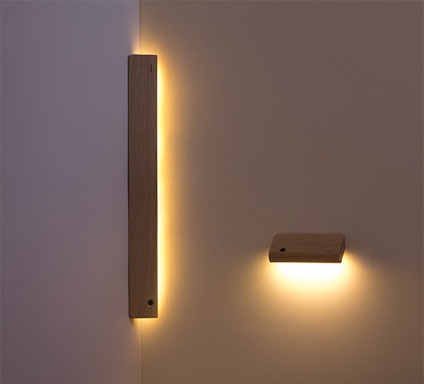 ellum wooden angled motion sensor wall lights