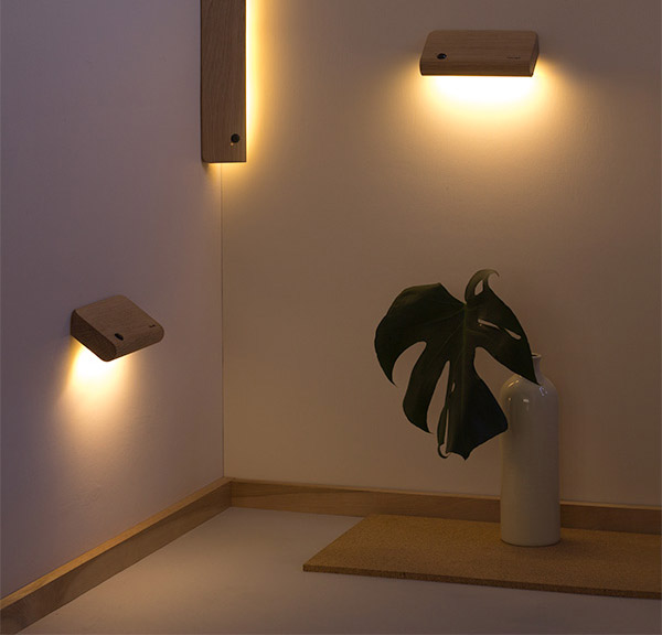 Ellum: Wooden Motion Activated Wall Lights