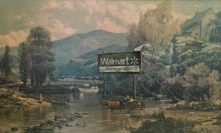 Funny Walmart Coming Soon Painting - Repurposed Thrift Store Painting - Parody Walmar Coming Soon Painting