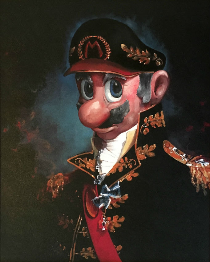 Funny Mario Nintendo Army General Painting - Repurposed Thrift Store Painting - Parody Mario Nintendo Painting