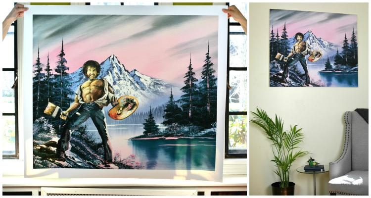 Bob Ross Epic Chest Painting - Repurposed Thrift Store Painting - Parody Bob Ross Painting