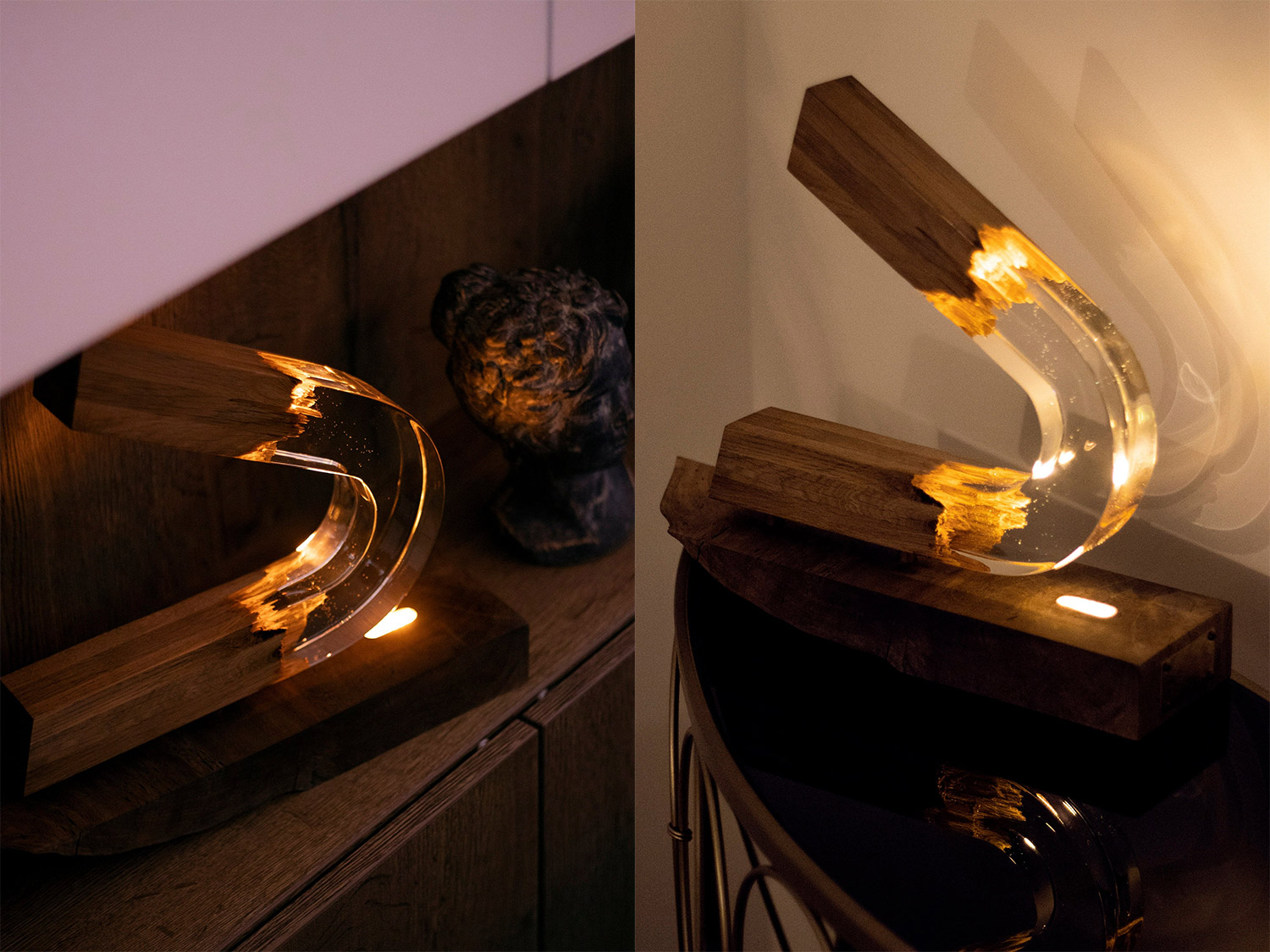 Beautiful Epoxy Wooden Lamps Made From a Broken Piece of Wood