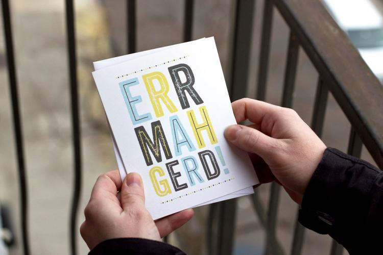 ERRMAHGERD Cut Out Paper Shot Glass Card