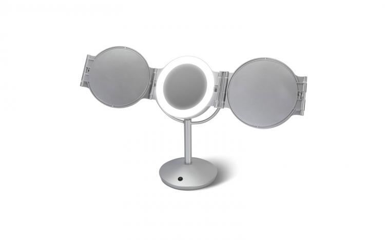 Every Angle LED Lighted Mirror - 5 angle lighted magnifying beauty mirro