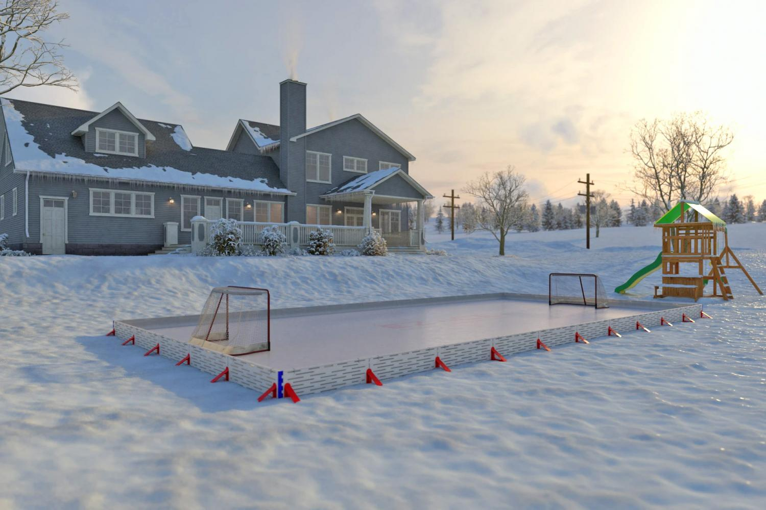 EZ Ice Rink - DIY Backyard Ice Rink That Sets Up in 1 Hour
