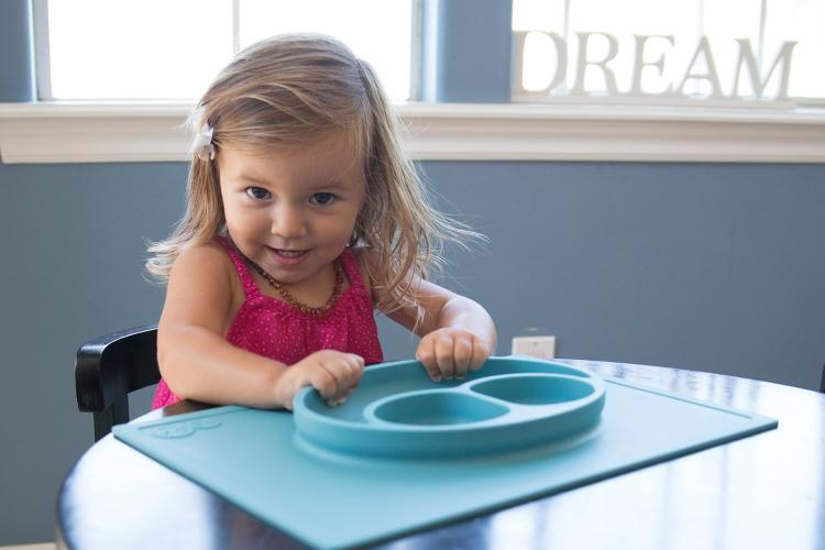EZPZ Kids Suction Placemat - Suction Cup Placemat / Plate Combo - Kids suction bowl sticks to table to prevent spills