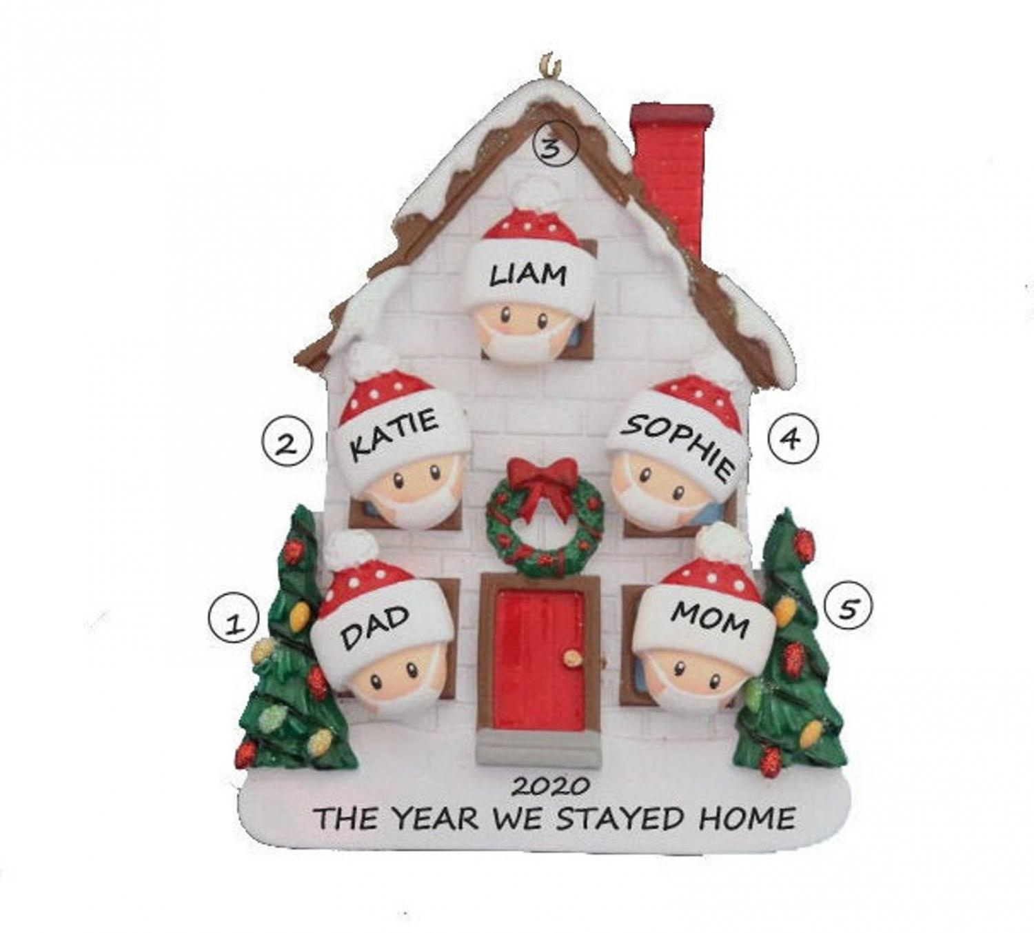 2020, The Year We Stayed Home - Family In Face Masks Quarantine Christmas Ornament
