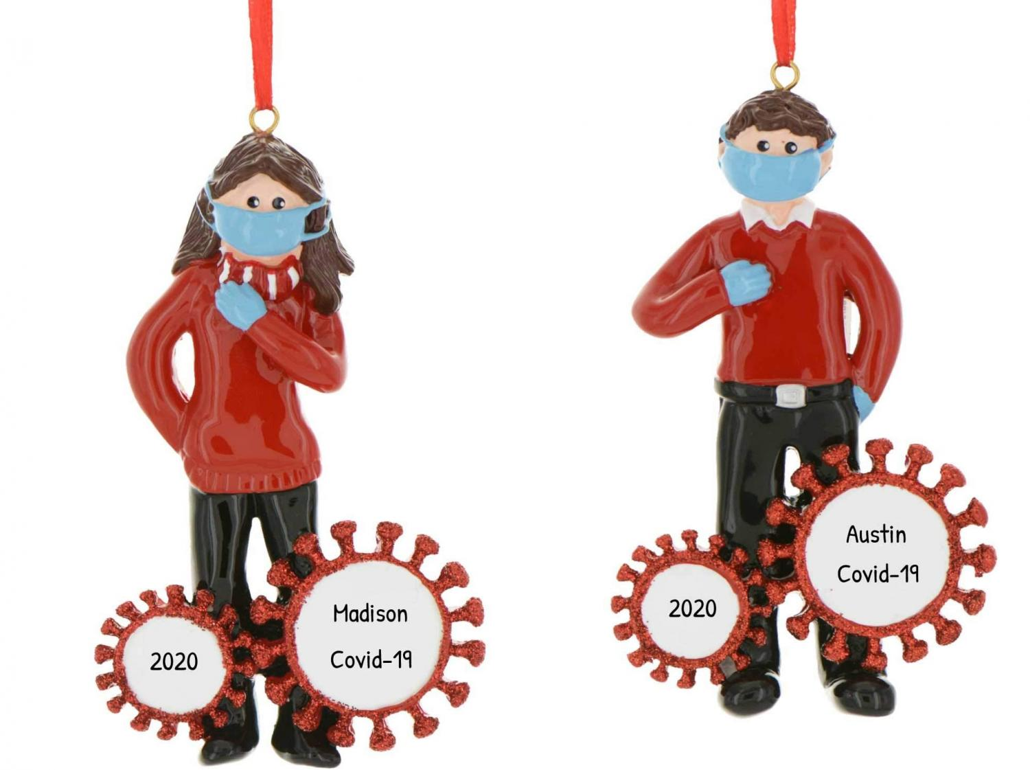 Boy or Girl in Face Mask Quarantine Christmas Ornaments