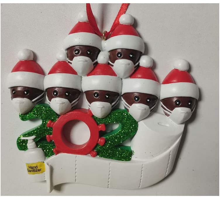 Black Family in Face Masks Quarantine Funny Christmas Tree Ornament