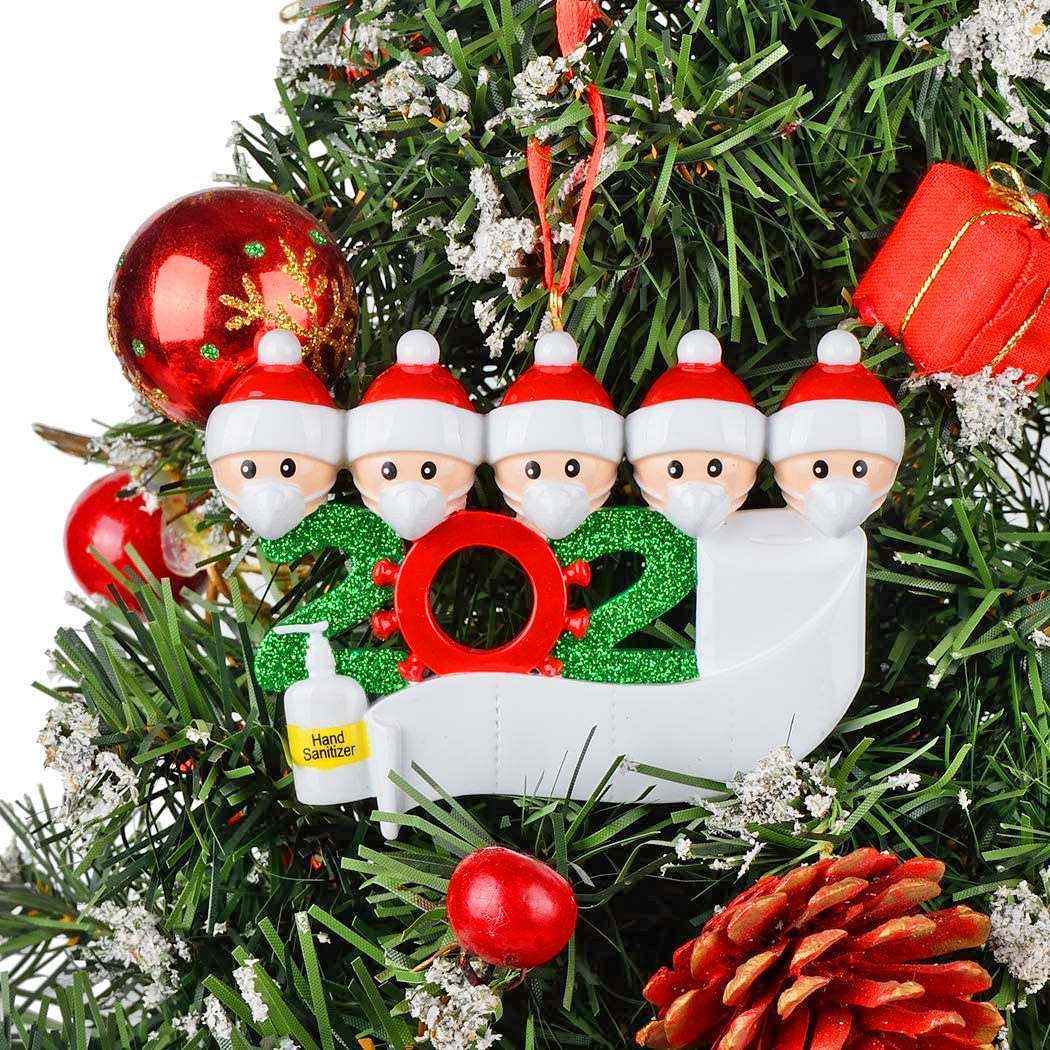 Family In Face Masks Quarantine Christmas Tree Ornament