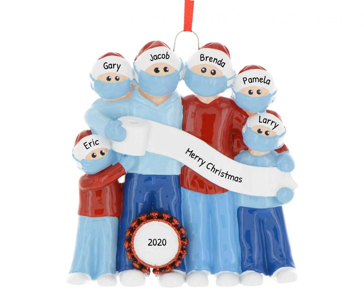 Family Christmas Caroling in Face Masks Christmas Ornament