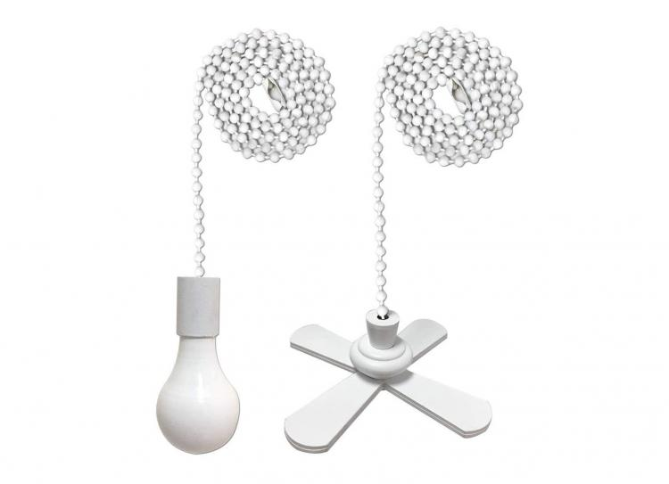 Fan and Light Bulb shaped pull-string chain set