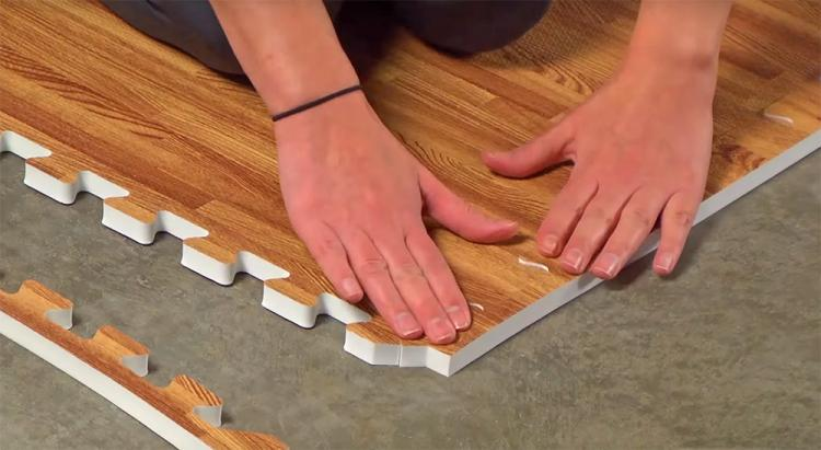 Faux Hardwood Floor Interlocking Foam Tiles - Hard wood flooring pads