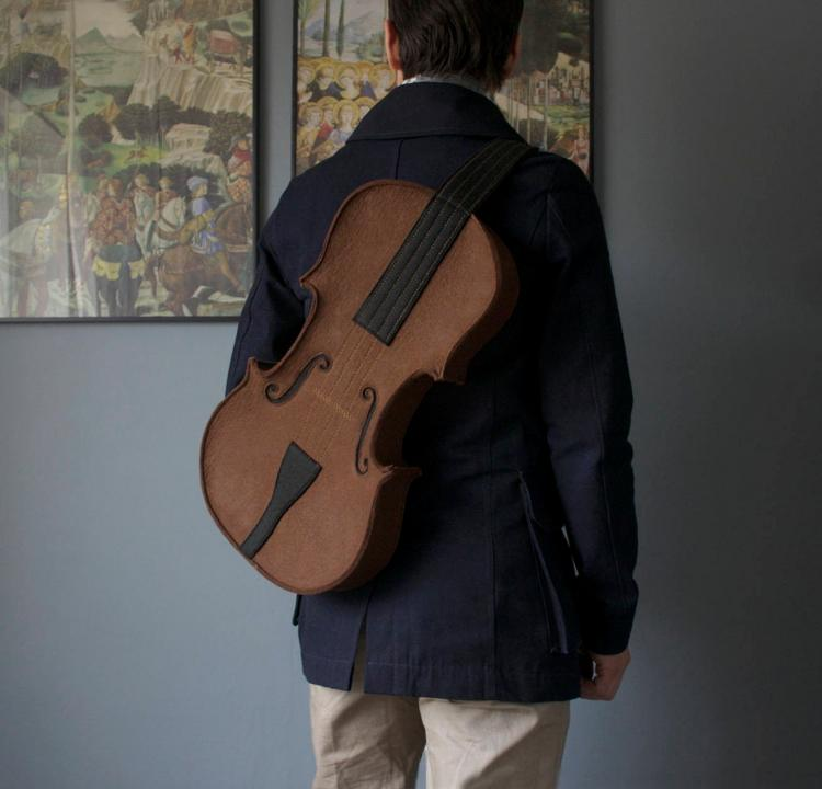 Stylish leather violin backpack - unique backpacks