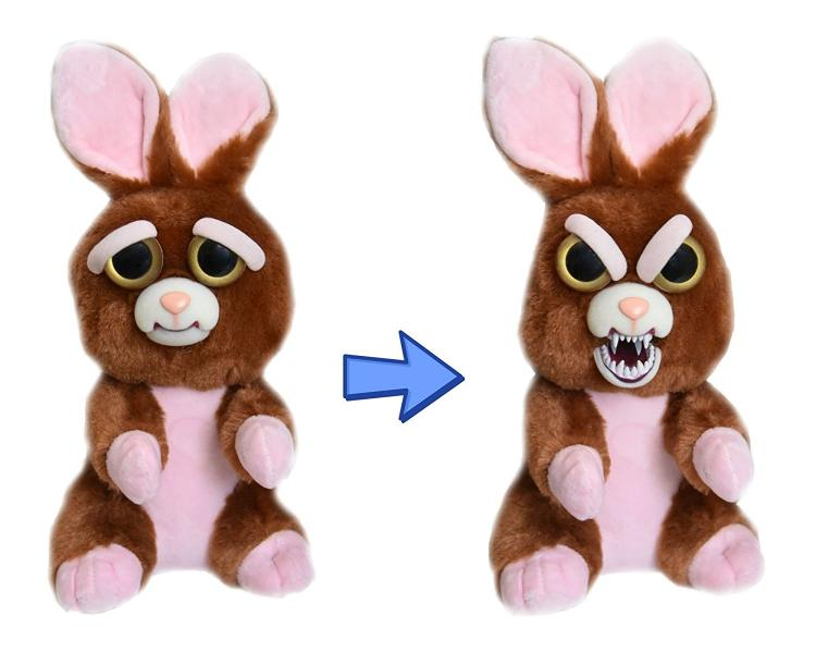 Feisty Pets - Squeeze head to turn from cute to angry - Pissed off stuffed animals - Bunny