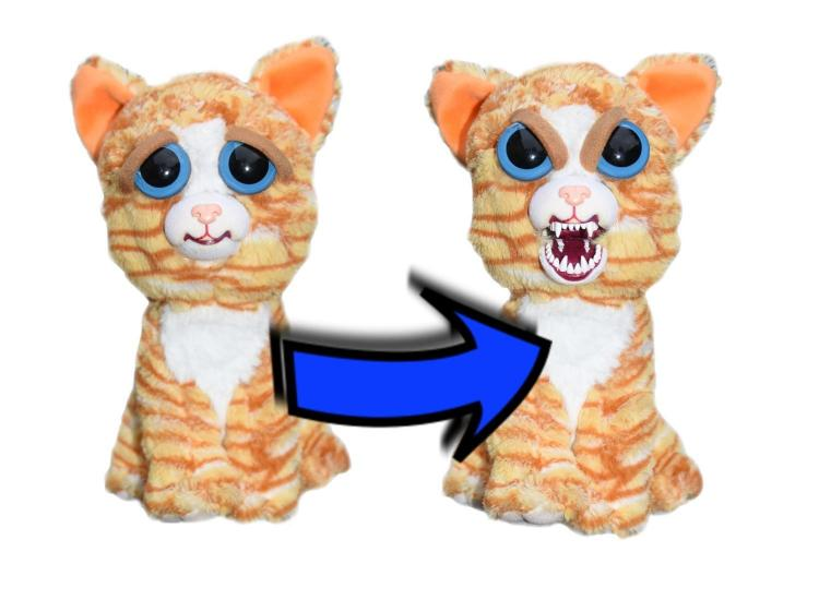 Feisty Pets - Squeeze head to turn from cute to angry - Pissed off stuffed animals - Cat