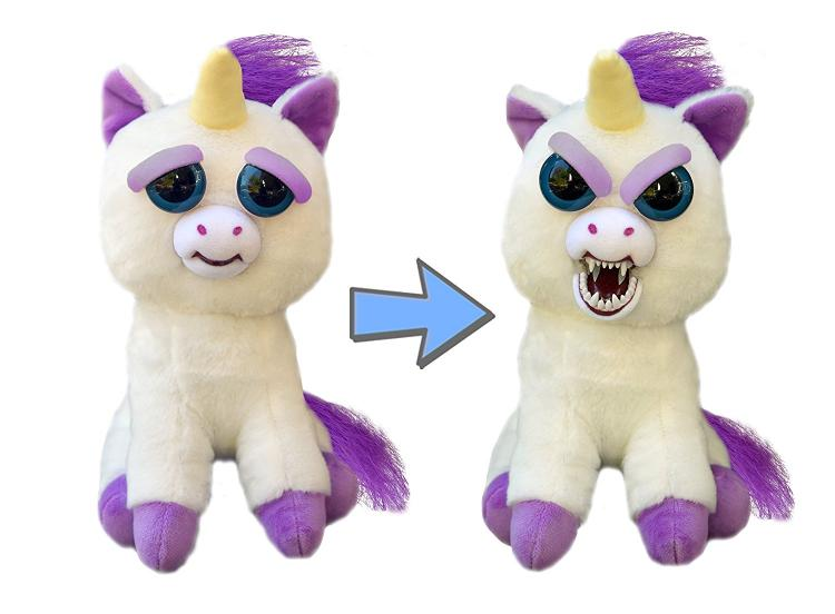Feisty Pets - Squeeze head to turn from cute to angry - Pissed off stuffed animals - Unicorn