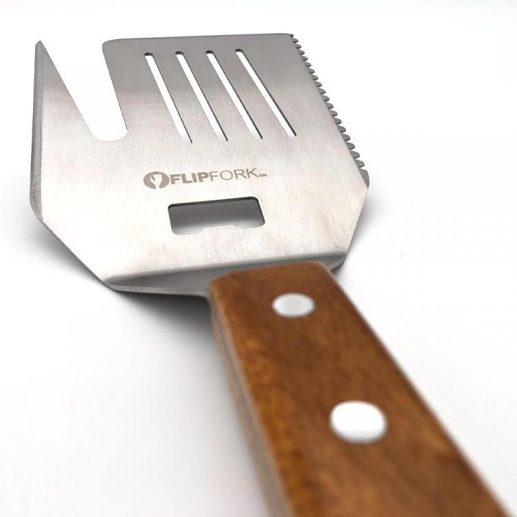 FlipFork 5-in-1 BBQ Spatula, knife, bun slicer, bottle opener spatula