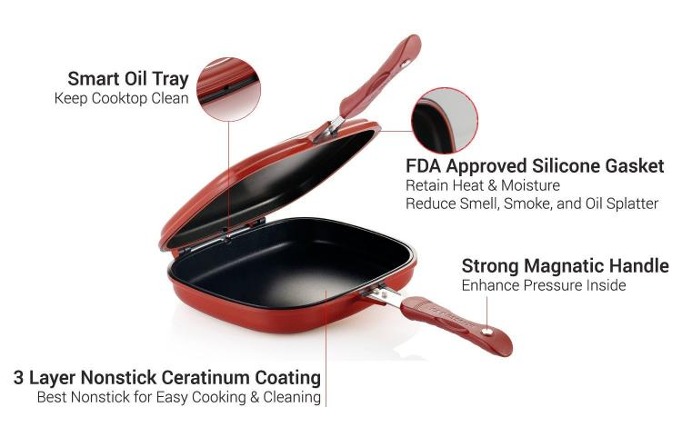 Happycall Doubled Sided Cooking Pan - Flip over pan - cook meal with no utensils