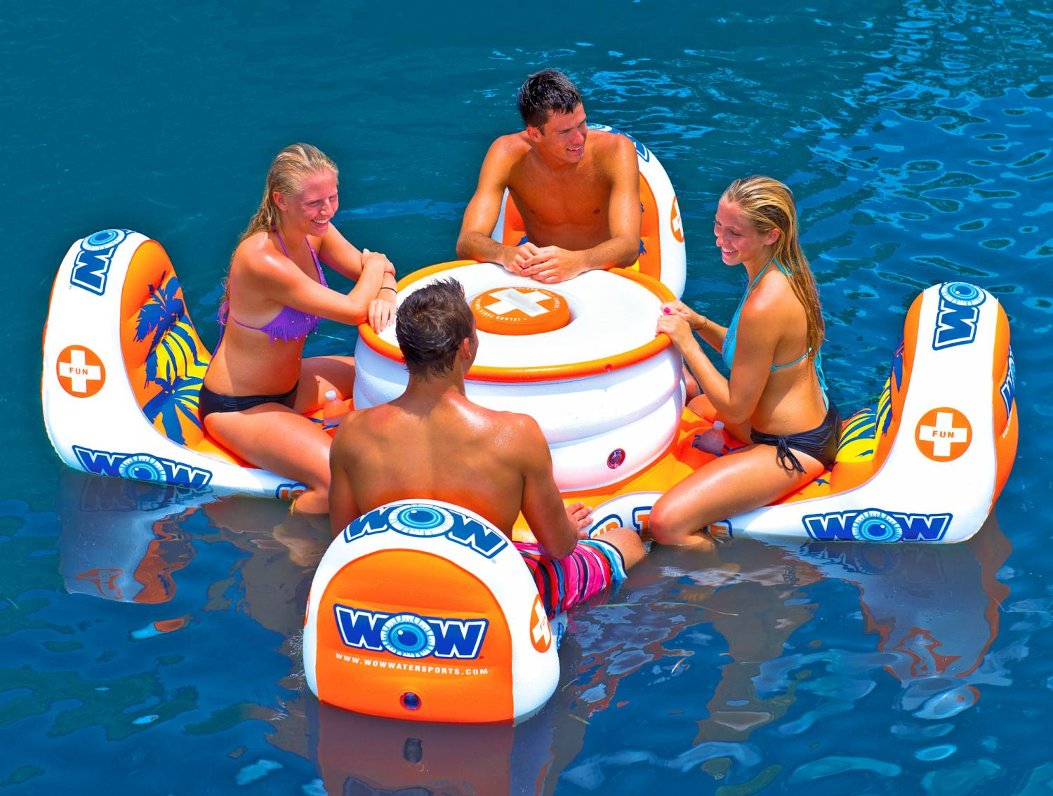 floating 6 person pool float table with cooler