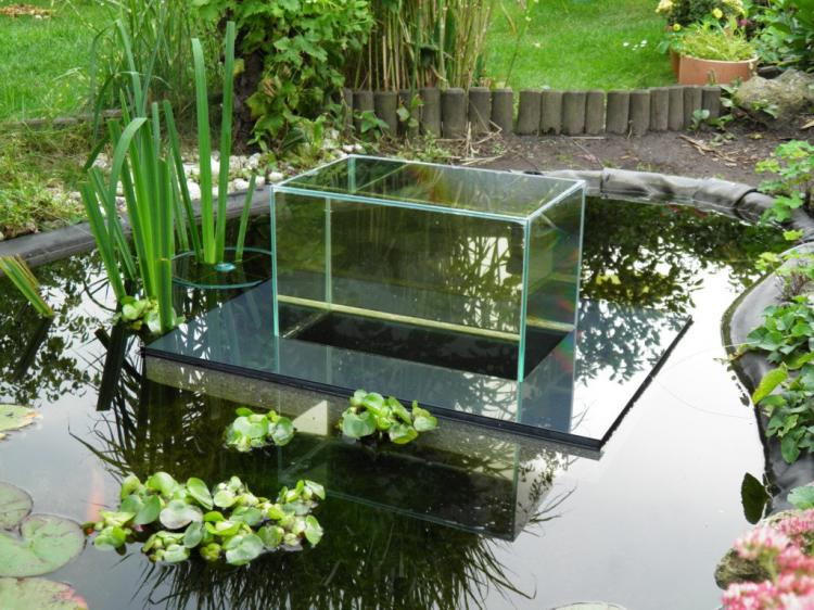 Floating fish koi pond observatory lets you view your fish for Fish tank in pond