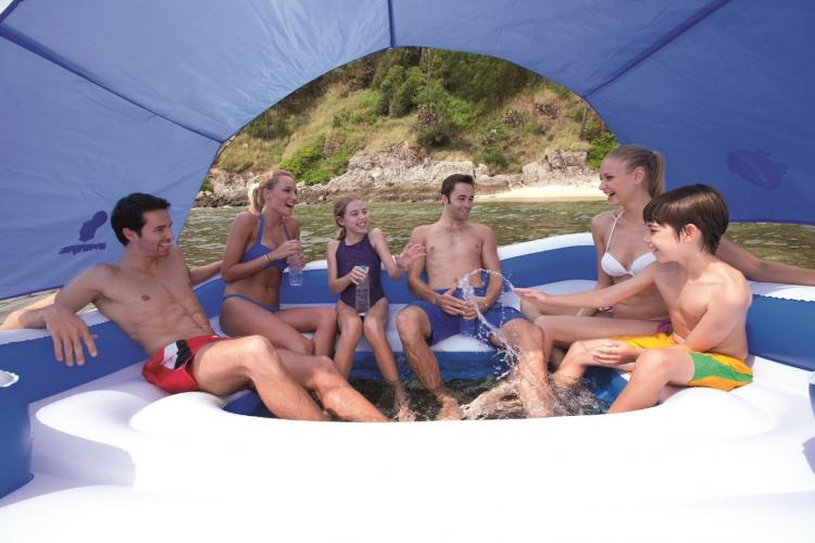 Giant Tropical Island Floating Lake Lounger - CoolerZ Tropical Breeze Inflatable Floating Island