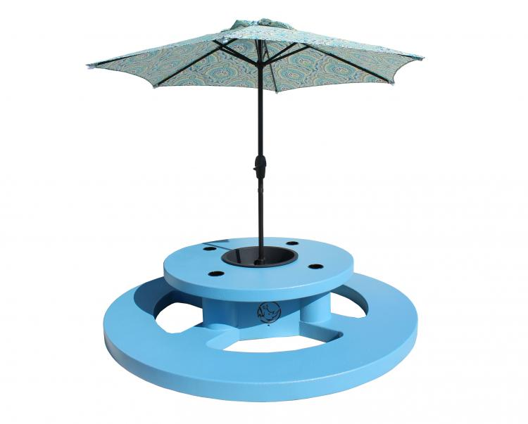 Round Floating Picnic Table With Umbrella - Water-based foam round picnic table with umbrella - Lake party table