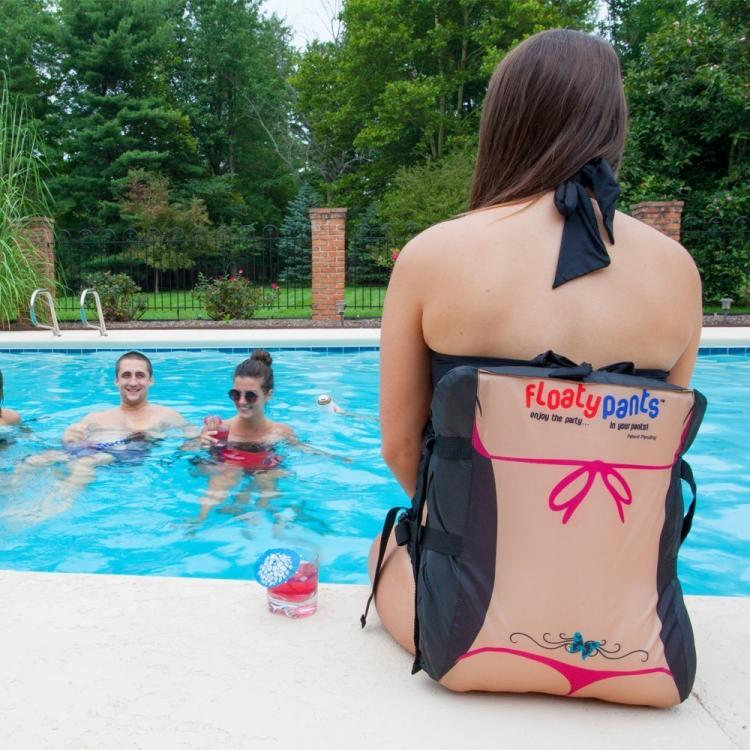 Floaty Pants - hand-free flotating device wraps around your butt - funny life jacket images gives you a thong and plumbers crack