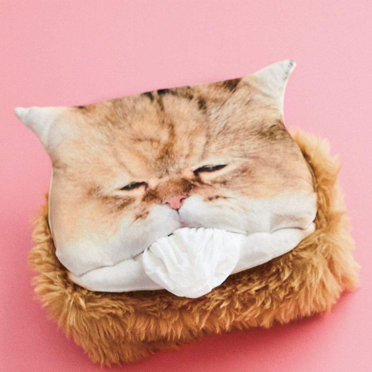 Fluffy Cat Head Tissue Dispenser