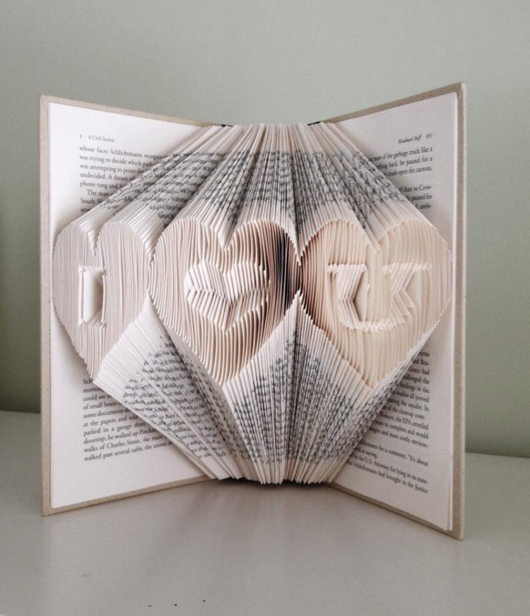 Folded Book Art Turns Book Pages Into Giant 3D Letters - 3D letters book art