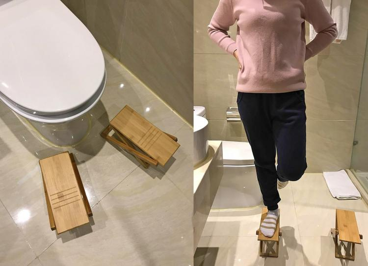 Folding Bamboo Wooden Toilet Squatting Stools - Manspread toilet stools