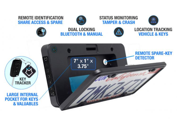Foxxvault Secret Stash Spot Behind Your License Plate - Bluetooth License Plate Storage Spot