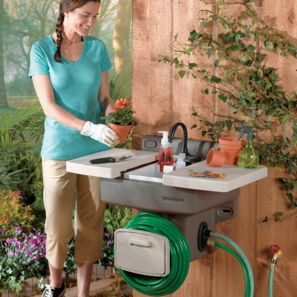 Wall mounted Garden Hose Sink -  Instant Outdoor Sink With No Extra Plumbing Required