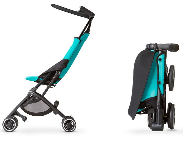 this baby stroller folds down to fit into a backpack or messenger bag