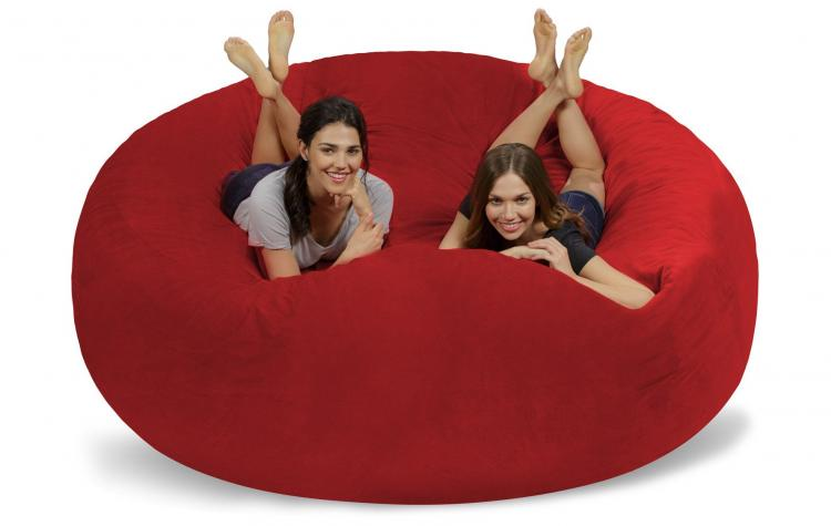 Giant 8 Foot Bean Bag Chair Fits 3 People - Huge 8 Feet Long Chill Sack Lounger