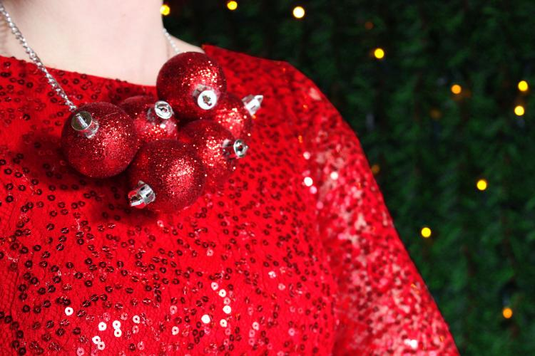 Giant Christmas Ornament Ball Purse and Necklace