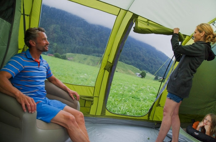 Giant Family Tent Has Blackout Bedroom Compartments and a Full Living Area - Vango Odyssey 8-Person Tunnel Tent