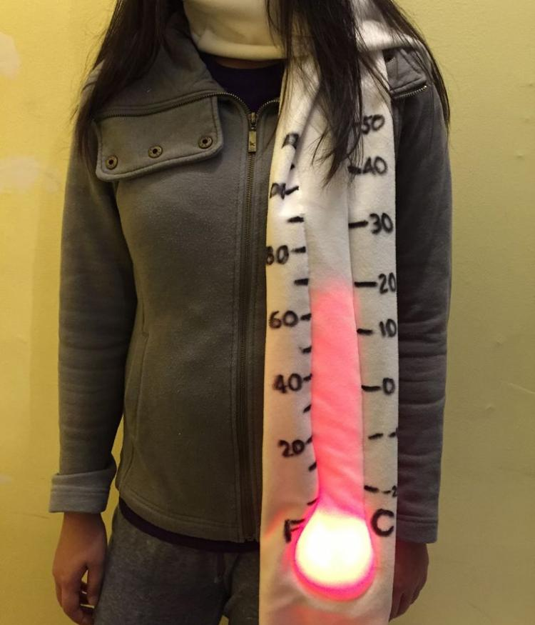 DIY Giant Light Up & Animated Thermometer Temperature Gauge Scarf