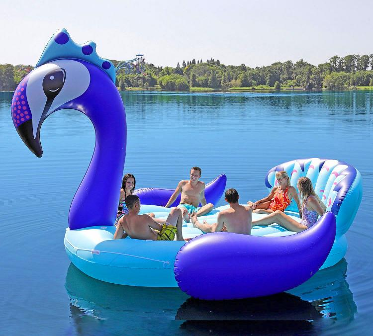 Giant Peacock Lake Float Seats Up to 6 Adults - Party Bird Island Giant Inflatable Peacock Water Float