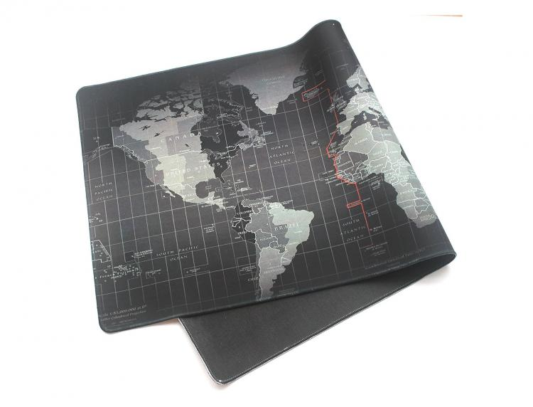 Giant Black World Map Mouse Pad - Huge World Map Mouse Pad For World Domination - Evil Villain Mouse Pad