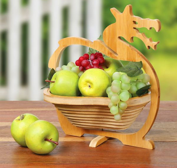 Wooden Nested Dragon Basket Folds Down For Easy Storage
