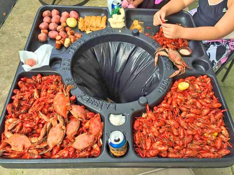 This Genius Table Has a Built-In Trash To Quickly Devour Crab, Lobster, or Crawfish
