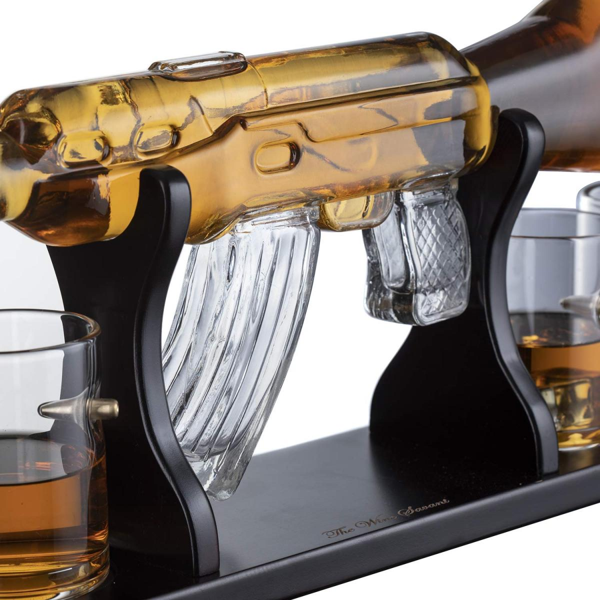 Glass AR-15 Rifle Decanter - Classy M16 Gun Whiskey Decanter For Home Bar