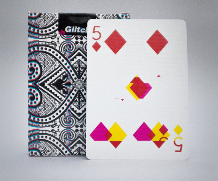GLITCH Playing Cards - 5 of Diamonds