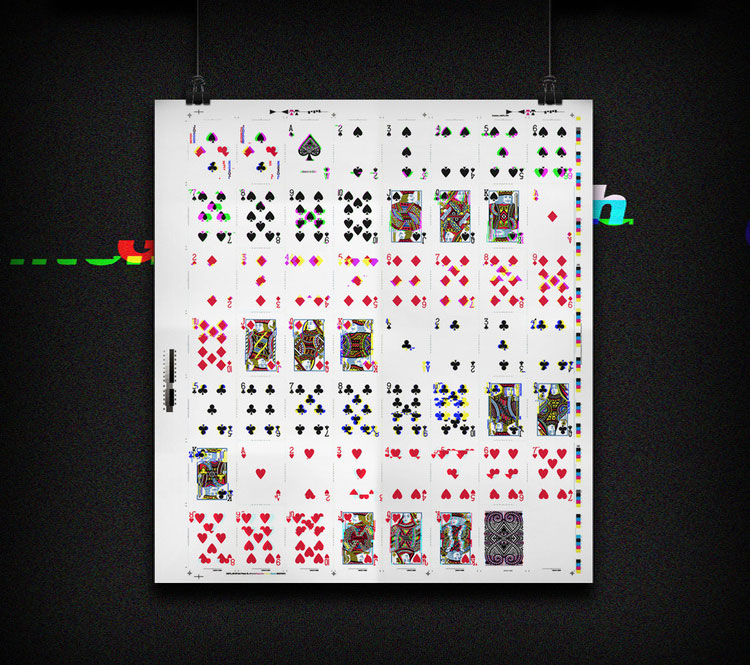 GLITCH Playing Cards Uncut Poster